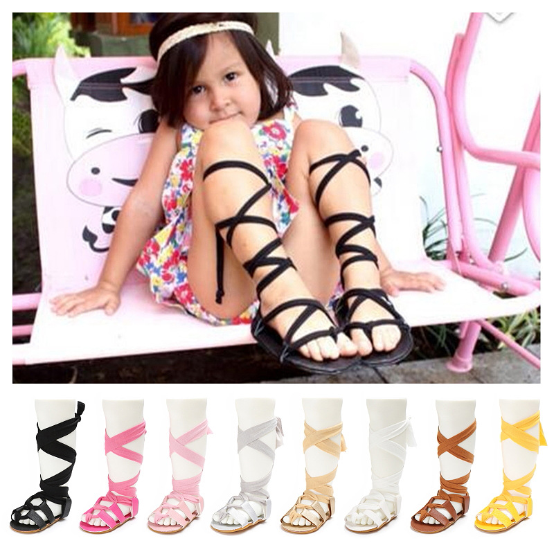 High Gladiator Sandals Summer Pu Leather Hard Bottom Baby Sandal Flat Heels Lace-up Sandals Girls Rome Baby Sandals