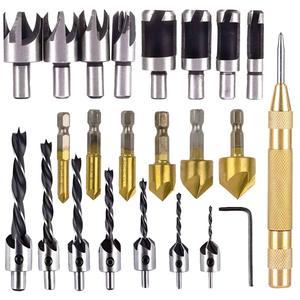 Image 1 - 23 pack carpintaria chanfro ferramenta de perfuração countersink brocas de madeira plug cortador e automático