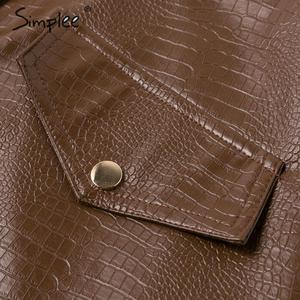Image 5 - Simplee נשים פו עור שמלת Streetwear PU רך בעלי החיים הדפסת סרבל סתיו שמלת סרבל גבוה מותניים גברת רצועת מיני שמלה