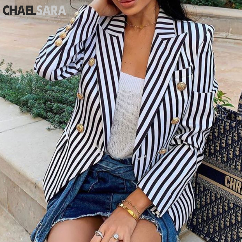 2019 Casual Blazers Spring Slim Fit Women Formal Jackets Office Work Double Breasted Notched Ladies Blazer Coat