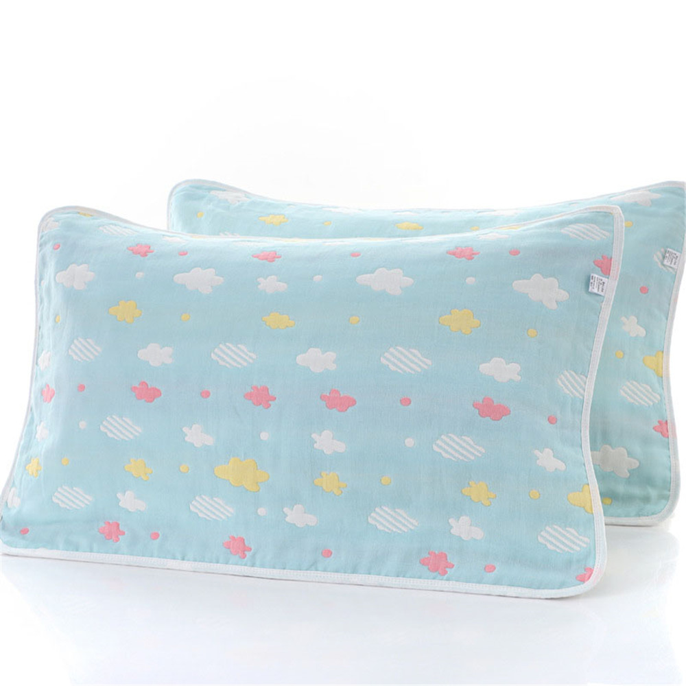 New adult gauze pillowcase cotton gauze cartoon cotton jacquard pillow towel image