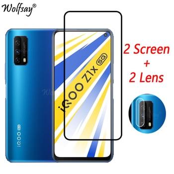 Перейти на Алиэкспресс и купить Полное покрытие закаленное стекло для Vivo iQOO Z1x 5G защита для экрана для Vivo iQOO Z1x стекло для камеры Vivo iQOO Z1x 5G стекло 6,57дюйм