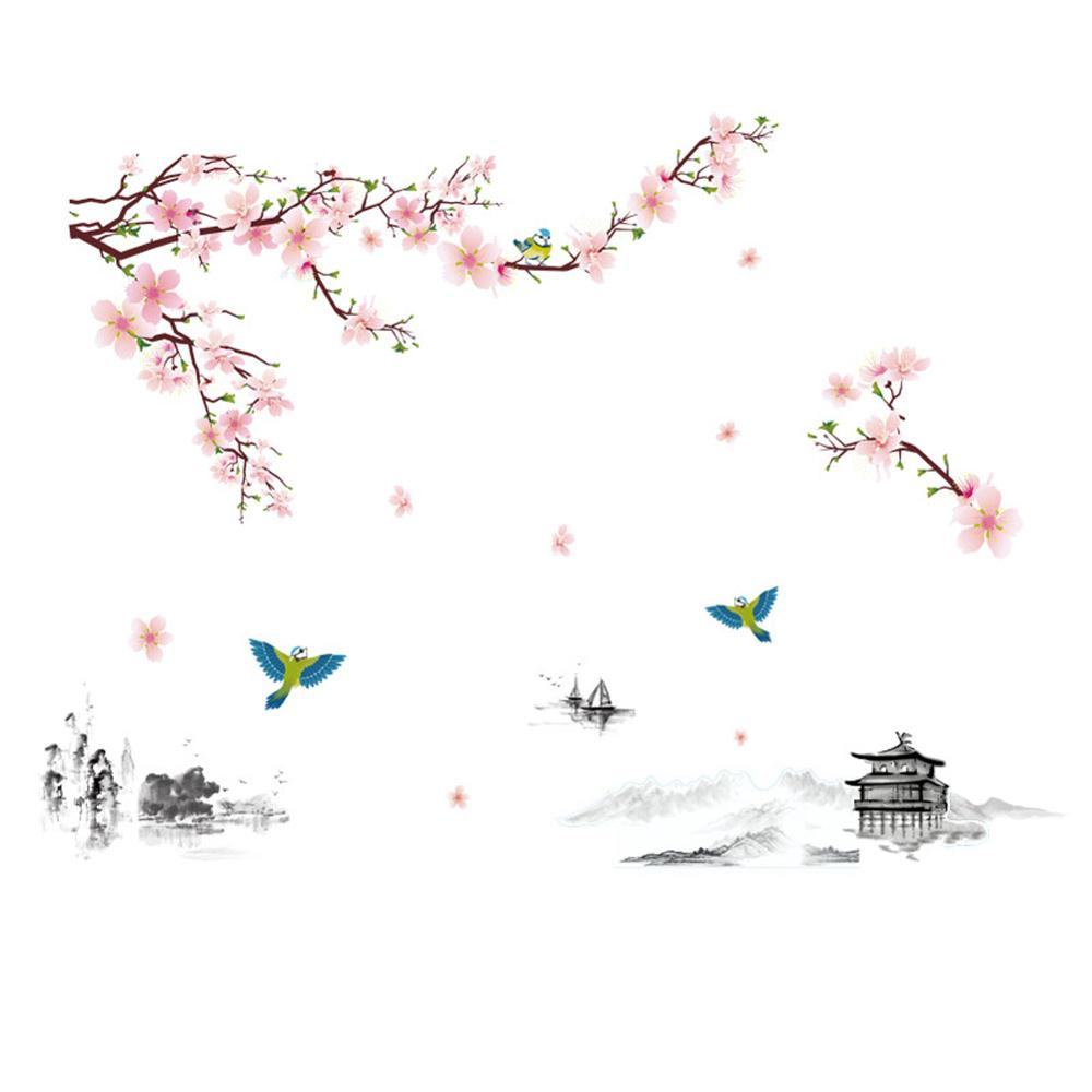 Pintura de tinta con paisaje de flor de melocotón, pegatina de pared de estilo chino, papel tapiz para sala de estar, sofá, decoración de fondo, pegatinas para el hogar