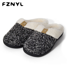 FZNYL Men Winter Slippers House Indoor Cotton Warm Rubber Non-slip Home Shoes Male Soft Comfortable Bedroom Casual Shoes Size 45 цена 2017