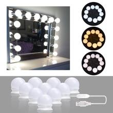 10 светодиодный s лампа Голливудский стиль зеркало для макияжа с подсветкой затемнения 3 режима USB штекер светодиодный зеркальная лампа комплект линз фара светильник для комода