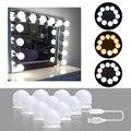 10 светодиодный s лампа Голливудский стиль зеркало для макияжа с подсветкой затемнения 3 режима USB штекер светодиодный зеркальная лампа комп...