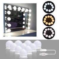 10 LEDs Bulb Hollywood Style Makeup Mirror Light Dimmable 3 Mode USB Plug LED Vanity Mirror Lamp Kit Lens Headlight Dresser Lamp