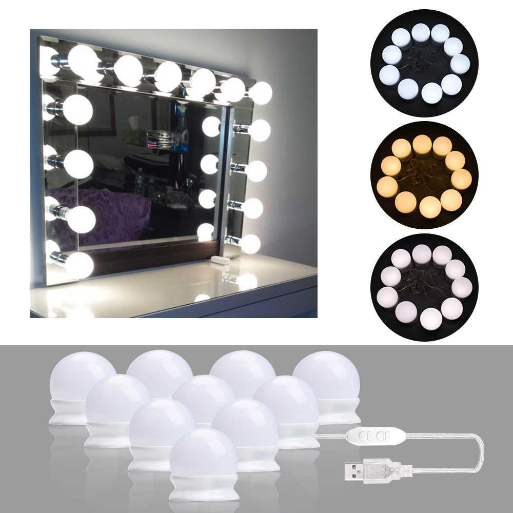 Lâmpada led de 10 lâmpadas, estilo de hollywood, luz para espelho de maquiagem, regulável, 3 modos, usb, tipo lâmpada para espelho lâmpada de penteados