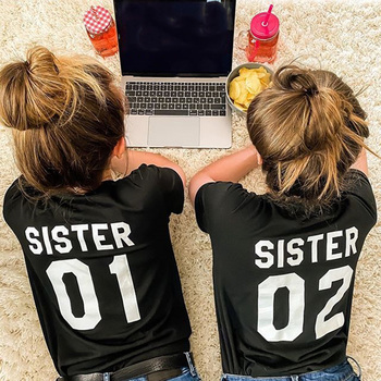 Women Fashion Summer Casual Best Friends T Shirt SISTER 01 02 Tees Short Sleeve Sister Matching Outfit Female Tops - discount item  30% OFF Tops & Tees