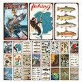 Металлический знак для рыбалки, дверная пластина для рыбалки, металлическая Оловянная пластина для рыбалки, Настенная Наклейка для рыбалки...