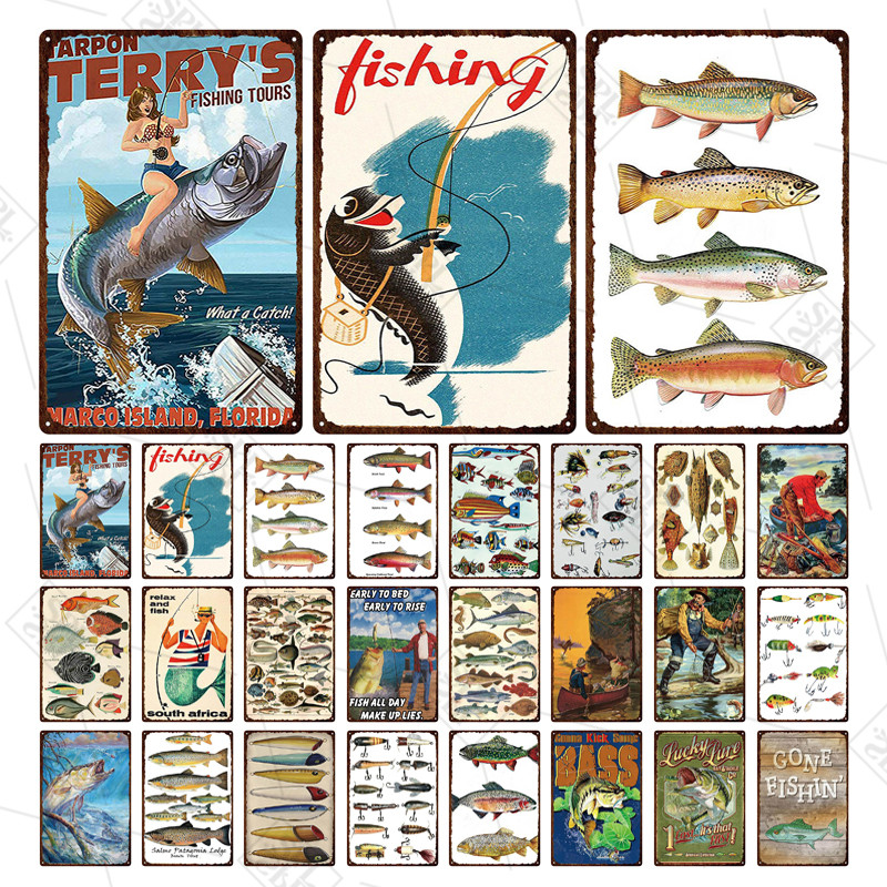 Pesca sinal de metal local de pesca doorplate tipo de peixe placa de lata de metal placa barra adesivo de parede pesca durante todo o dia fazenda casa decoração