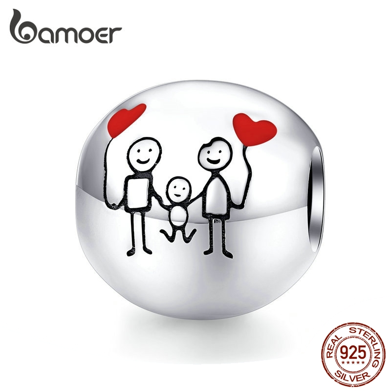 Bamoer Family Charm For Original 925 Bracelet Bangle Round Metal Beads For Women Family Gifts DIY Jewelry Making SCC1339