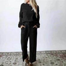 Duas peças outfits feminino casual de malha outono manga longa tripulação pescoço pulôver topo cordão bolso calças conjunto loungewear terno conjunto