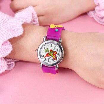 Watches Cartoon Children Cute butterfly Girl Student waterproof leather Quartz Clock kids Quartz Analog Wrist Watch Gift