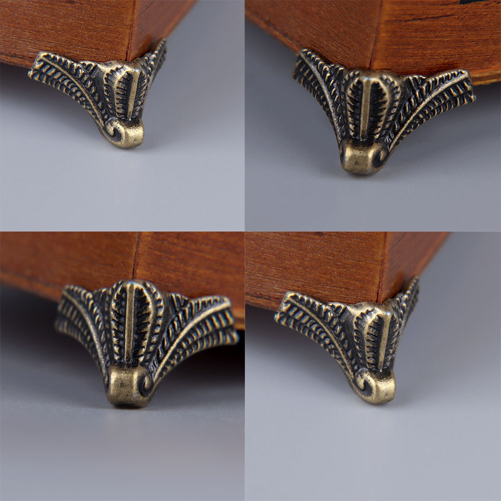 12pcs Furniture Hardware Feet Leg Angle Zinc Alloy Home Decoration Antique Wood Box Leg Angle Protector
