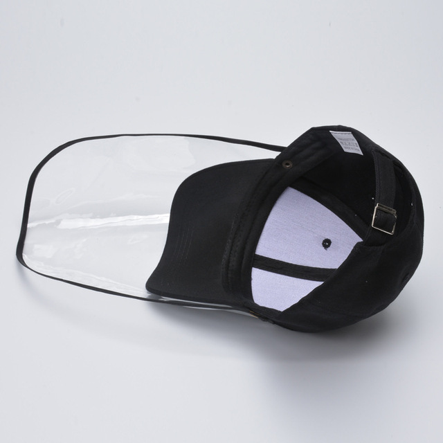 Adult Protective Face Shield Bucket Hat Transparent Face Cover Block Saliva Droplets Anti-spitting Fisherman Cotton Sun Cap 4