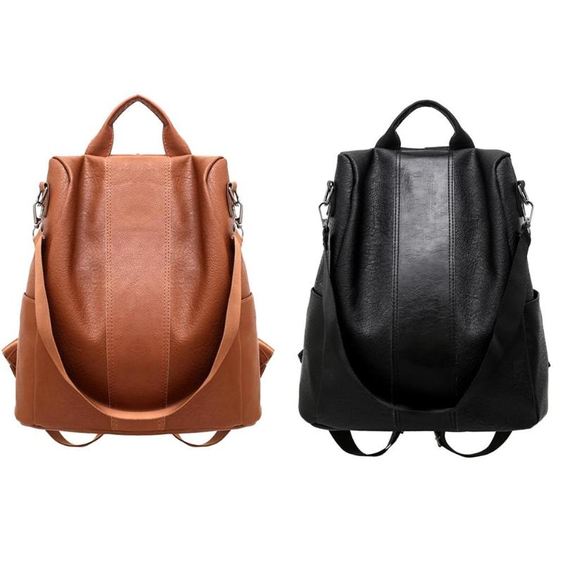Women Backpack Retro PU Leather School Shoulder Bag Solid Color Casual Travel Anti-theft Rucksacks Brown Black For Female Ladies