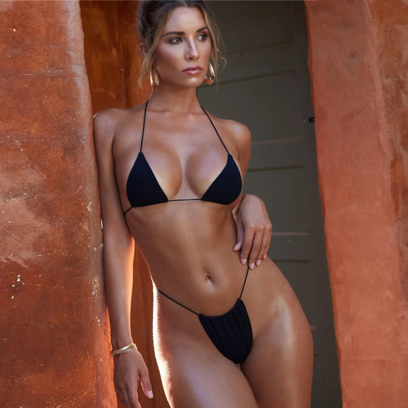 2020 Sexy Swimsuit Woman Mini Bikini Thong Micro Halter Triangle Bra Set 2 Piece Push Up White Blue Orange Pink Yellow