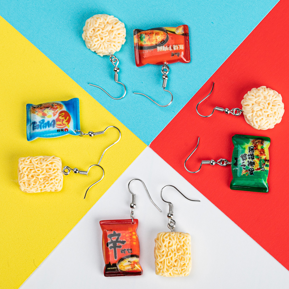 Creative Handmade I Want To Eat Noodles Food Drop Earrings For Female Funny Irregular Korean Lamian Dangle Earrings Brincos 2019