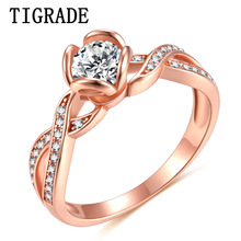 Tigrade 925 Sterling Silver Ring Rose Gold Color Woman Infinity AAA+ CZ Wedding Band Engagement Ring anel feminino Anniversary недорого