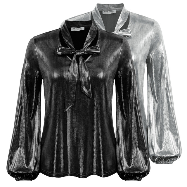 Kate Kasin Women Shirts Shiny Metallic-Like Blouse Long Sleeve V-Neck Bow-knot Decorated Tops Summer Sexy Elegant OL Lady Work 6