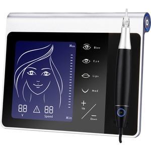 Image 5 - Yeni dokunmatik ekran kalıcı makyaj makinesi seti kaş dudak Eyeliner için makinesi ile 50 adet kartuş Neeldes şarj edilebilir pil
