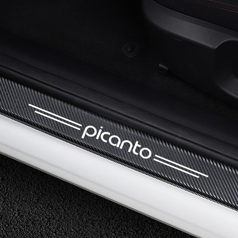 Car Stickers For Kia Picanto Car Door Sill Decorative Scuff Plate Guards Carbon Fiber Vinyl Door Threshold Sticker Accessories