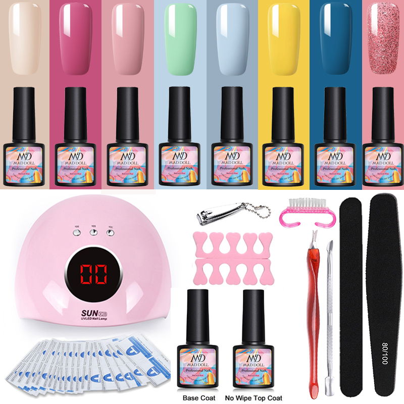 MAD DOLL Nail Get Set UV LED Lamp Dryer Nail File Buffer With Colorful Soak Off Nail Art Gel Nail Cutter For DIY Manicuring