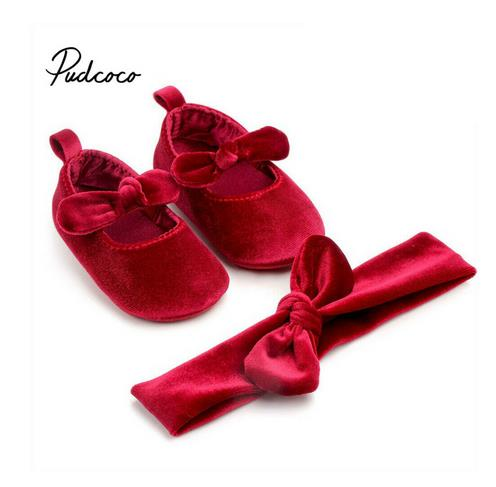 Velvet Baby Girls Shoes Toddler Kids Sweet Solid Newborn Walking Soft Shoes Bow Ribbon First Walkers Headwear Party Girls