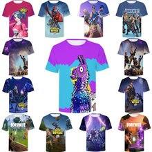 Meninos meninos meninas adolescente fortaleza noite tshirt brinquedos 3d impresso t camisa crianças verão batalha royale camiseta curta