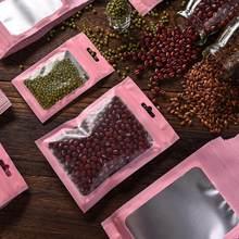 Sac plastique à fermeture éclair mat, 100 pièces/paquet, petite feuille d'aluminium, refermable, hologramme à eau à fermeture éclair, 6x10cm, pochettes alimentaires, W3K7
