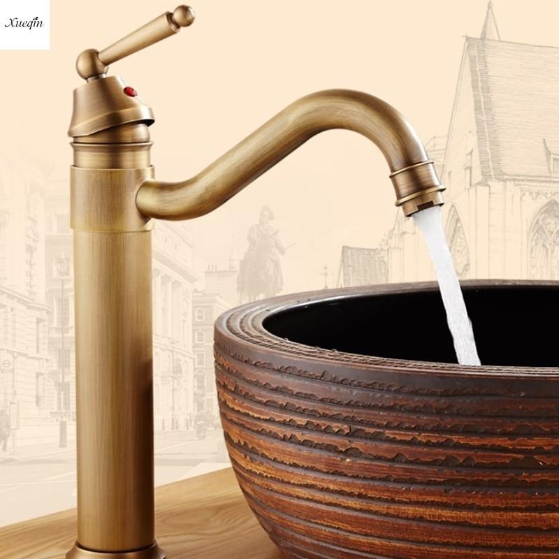 Antique cuivre 360 rotatif bassin évier robinet salle de bains froide et chaude eau mélangeur robinet poignée unique pont monté classique