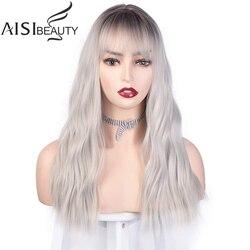 AISIBEAUTY perruques synthétiques pour femmes noires perruques longues ondulées avec frange gris/violet/Blure/Blonde/rose perruque avec délié naturel