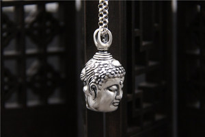 Image 4 - Handcrafted 100% 999 Silver Buddha Head Pendant Vintage Pure Silver Buddha Statue Amulet Pendant Buddha & Devil Man Pendant