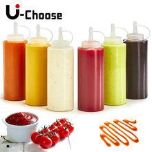 Salada ketchup garrafa de plástico squeeze garrafa de molho de geléia garrafa de vinagre de óleo garrafa de ferramentas de cozinha acessórios molho garrafa