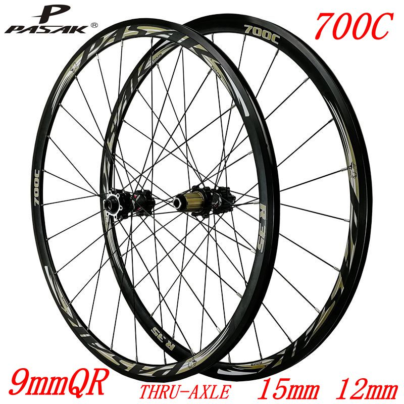 700C road wheels disc brakes road bike whees bicycle road wheelset 30mm alloy <font><b>RIM</b></font> direct-pull spoke 9mmQR thru-axle15mm/12mm image