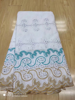 Pure White Hollow African 100% Cotton Lace Fabric Latest Swiss Voile Lace In Switzerland With Stones For Wedding Dress 5 Yards