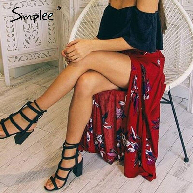 Simplee Sexy High Split Summer Skirt Women Boho Floral Print Female Long Skirt Casual Streetwear Ruffled Ladies Bottom Skirt