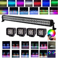 32INCH 180W LED Light Bar + 4x 3 12W Cube Pods Led work light with RGB Angle Eyes Halo Color Change Chasing for Jeep Ford SUV