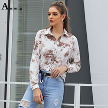 Aimsnug Office Ladies Top Women Elegant Work Wear OL Leisure Blouse Female Stylish Turn-down Collar Print Button Casual Shirt