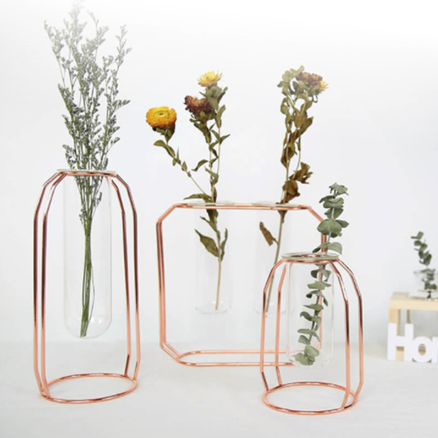 1 Set Nordic Vase With Glass Cuvette Geometric Shape Vase Glass Holder Stand Elegant Vase Decoration Home Bedroom Decor 1