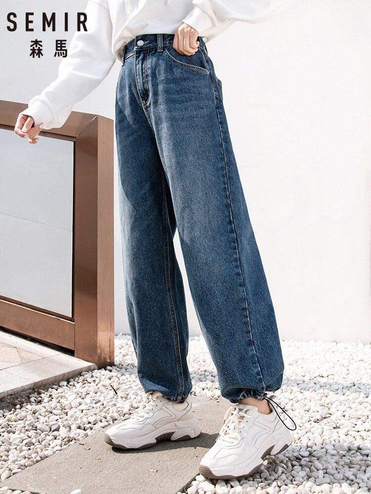 SEMIR Denim Trousers Women 2019 Winter New Korean Version Loose Ins Trend Wide Leg Pants Chic Small Jeans Woman