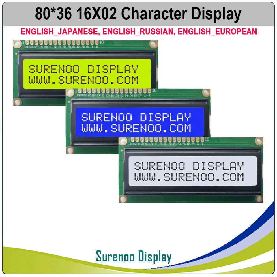English / Japanese / Russian / European 1602 162 16X2 Character LCD Module Display Screen LCM Build-in SPLC780D Controller