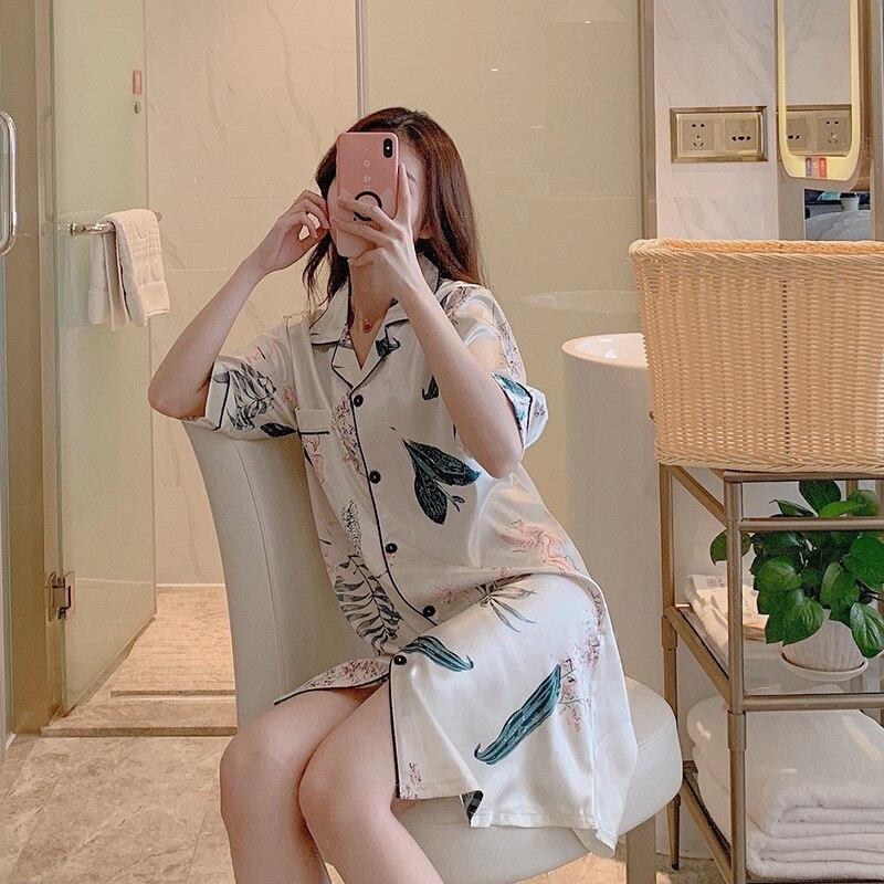 Nightgown Female Summer Pink Cardigan Ultra-stretch Imitated Silk Fabric Shirt Collar Midi-skirt Silver One-piece Short Sleeve V
