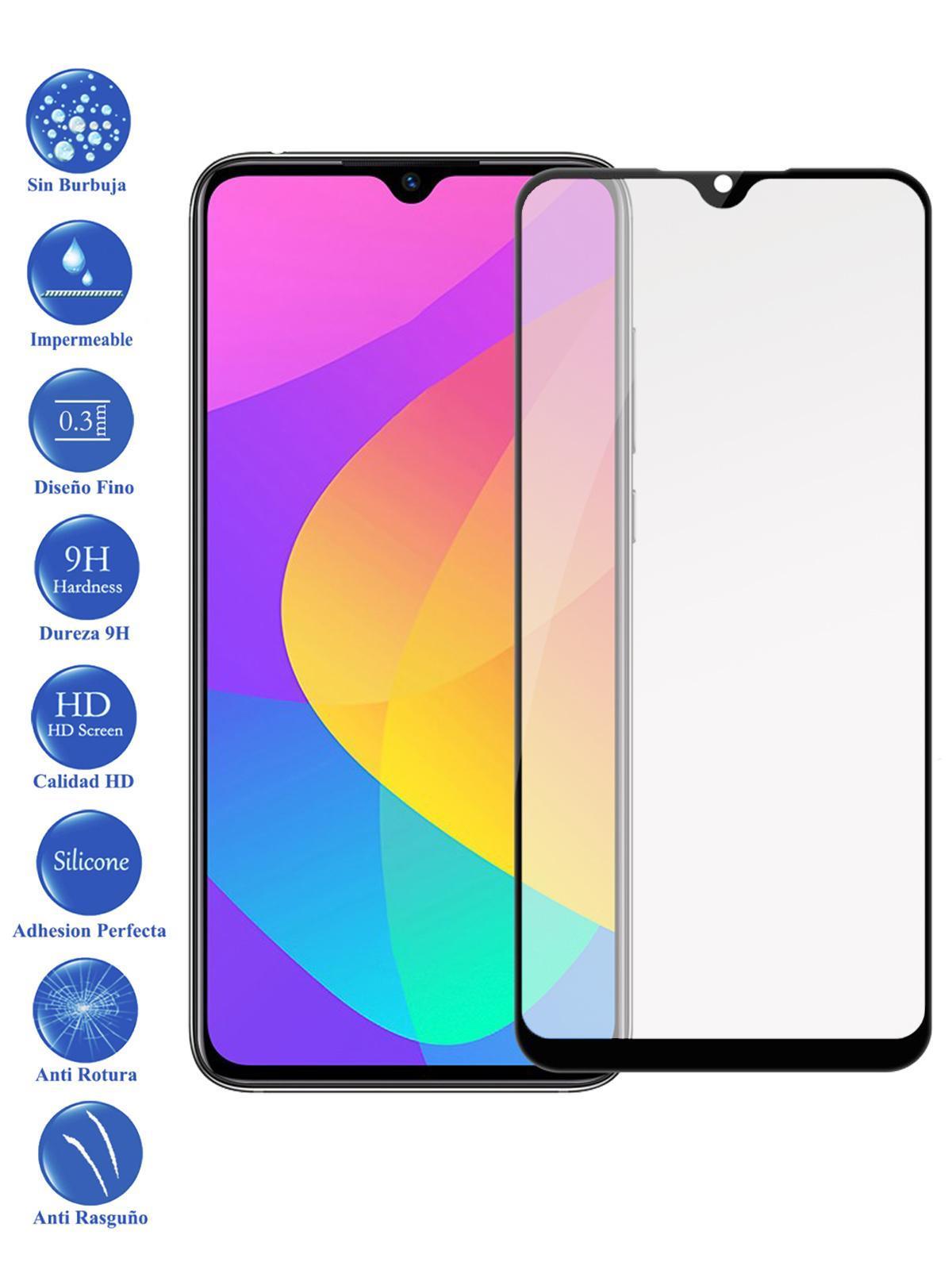 Protector De Pantalla Para Xiaomi MI A3 Negro Completo Cristal Templado Curvo