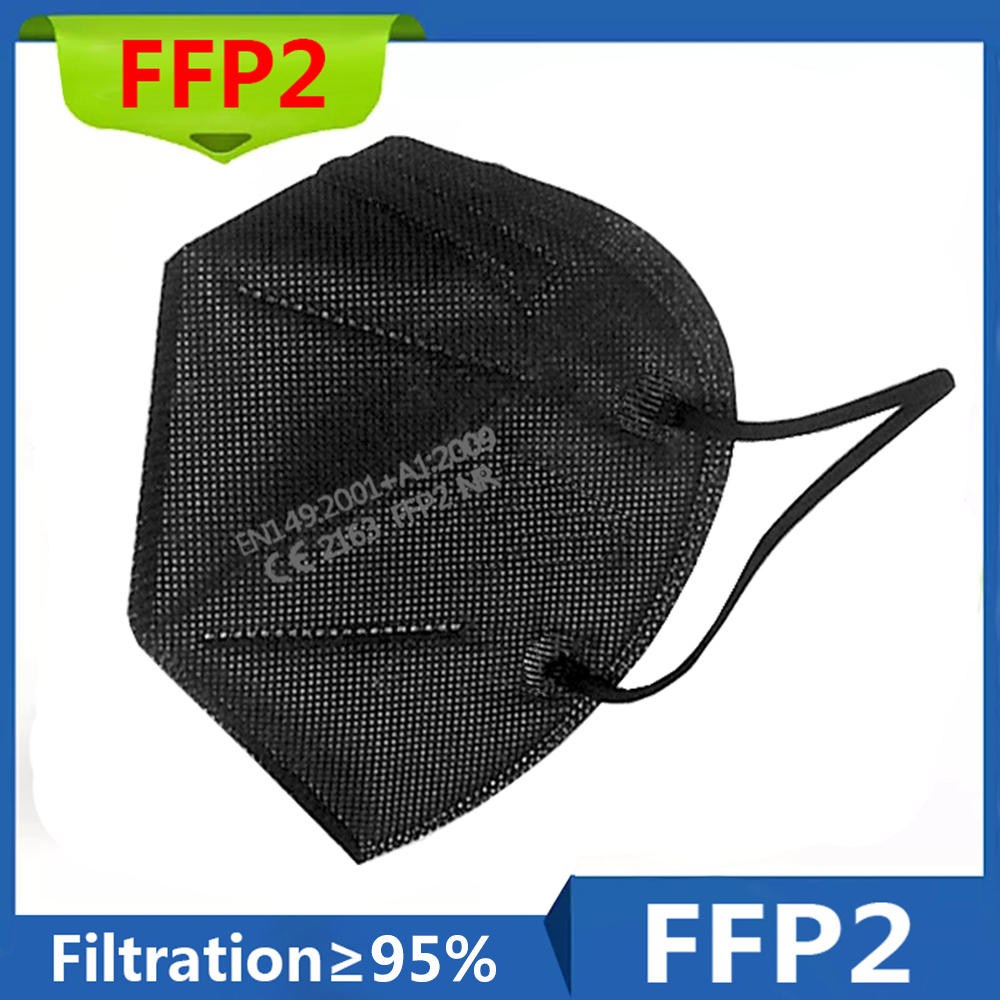 CE mask 6 Layers FFP2 MASK Adult Black 95% Filter Fabric Mask Mascarillas Protective Mouth Face Mask Respirator fpp2 Masque