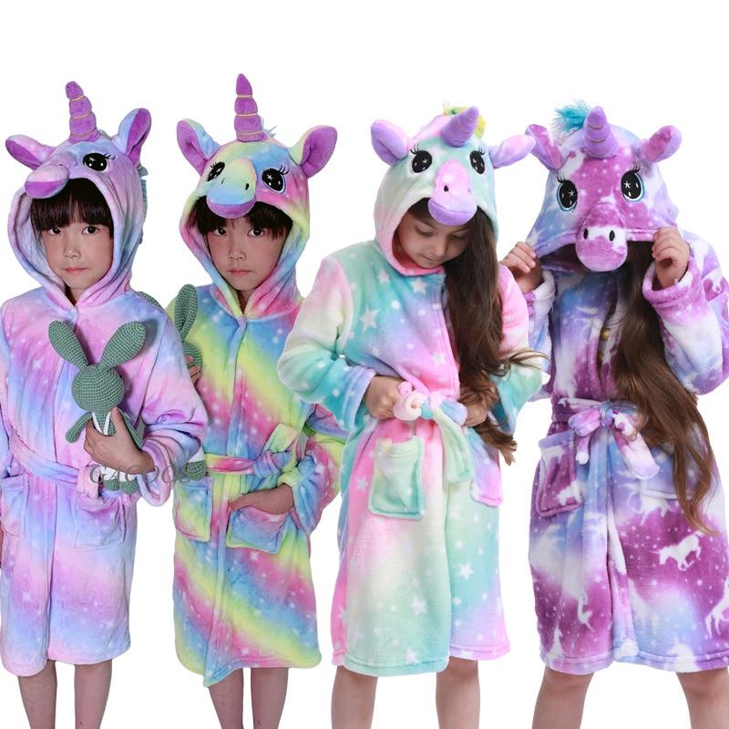 New Winter Big Boys Girls Bath Robe Children Unicorn Hooded Flannel Pajamas Lengthen Bathrobes For Teenage Boy Cartoon Pajamas