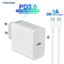цена на USB-C Power Adapter 18W 30W 45W 60W 65W QC3.0 PD3.0 Charger Cable For xiaomi USB-C Laptop MacBook Pro/Air iphone 11 pro iPad S10