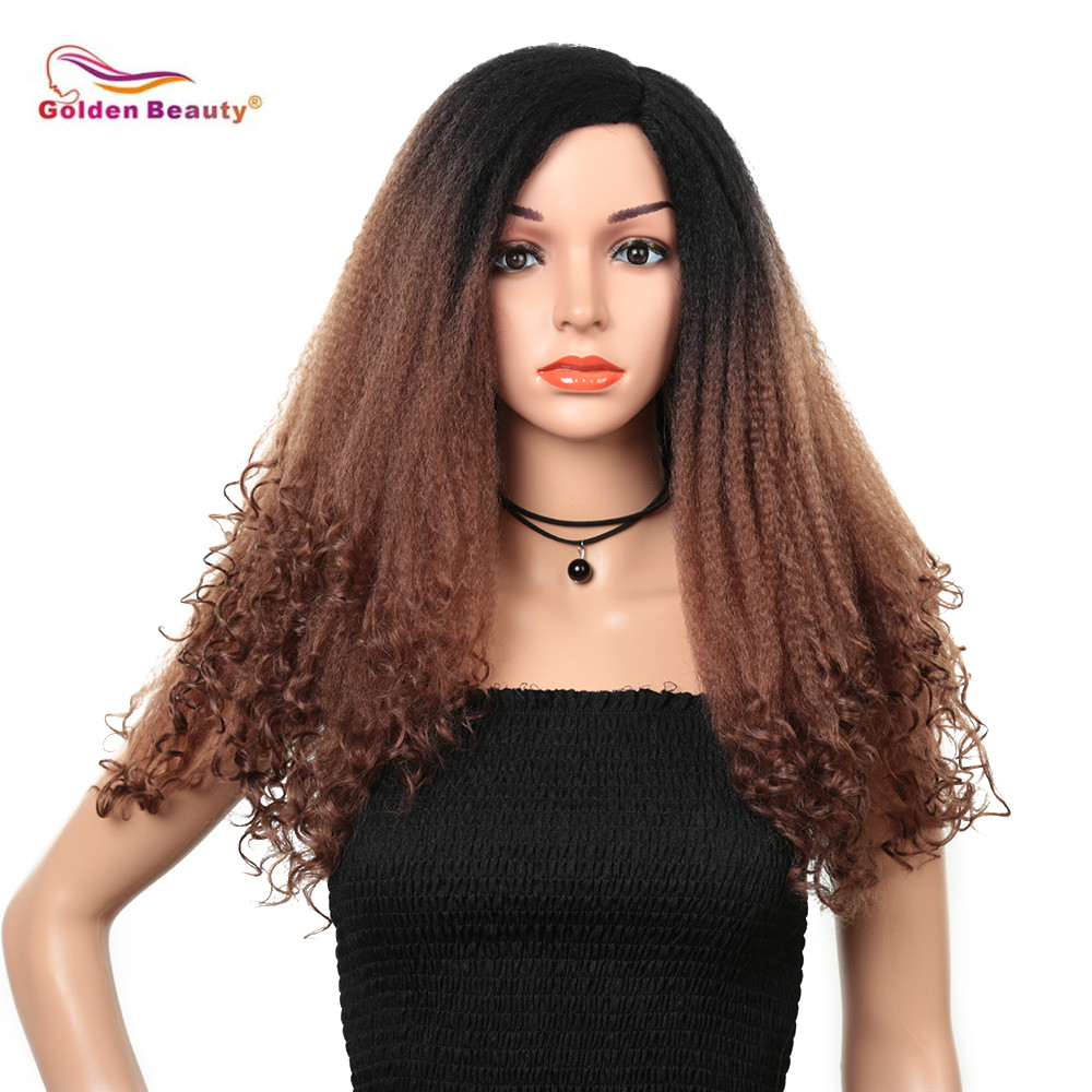 Golden Beauty 22inch Synthetic Cosplay Wig Ombre Brown Afro Kinky Curly Wigs For African Women Low Temperature Fiber