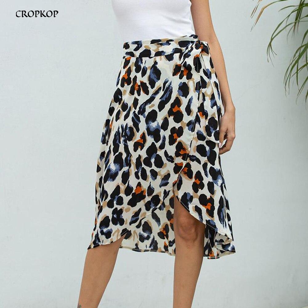 Chiffon Skirts Women Summer Leopard Print Lacing-Up Wrap Split A-line Skirt Elastic Clothes Slit 2020 Fashion Ladies Knee Length